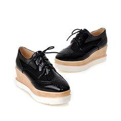 7658817edbb8 Susanny Women s Platform Wedges Lace-Up Wingtips Round toe Oxfords Shoe  Casual Leather Black Sneaker 10 B (M) US ( Partner Link)