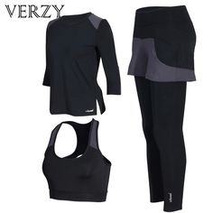VERZY Fitness Sport Suit Yoga Set Women Gym Running Jogging Suit Tracksuit for Women Tights Suit Breathable Long Sleeve Clothes