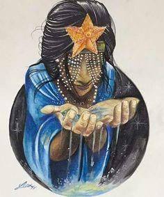 """Mãe d'água rainha das ondas sereia do mar..."" Orisha, Black Women Art, Black Art, Divine Goddess, Spirited Art, Classic Paintings, Character Design References, Character Art, God Pictures"