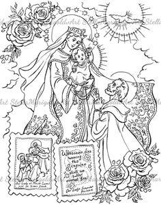 Our lady of lourdes and saint bernadette catholic coloring for Our lady of lourdes coloring page