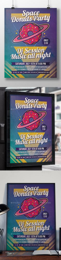 Planet Donuts Flyer Template — Photoshop PSD #planet earth #indie festival • Download ➝ https://graphicriver.net/item/planet-donuts-flyer-template/20258422?ref=pxcr