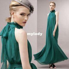 Korea Stand Collar Off Shoulder Maxi Dress