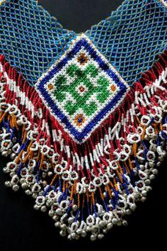 Colorfully hand-beaded vintage large Kuchi necklace.