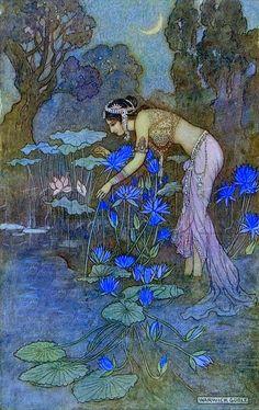 Sita finds Rama (seventh avatar of Vishnu) among the lotus blooms ~ art by Warwick Goble