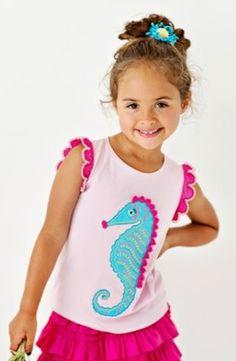 Lemon Loves Lime Girls Fairytale Pink Seahorse Realm Tank Shirt
