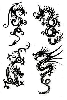 e463c2de2 Tribal Chinese Dragon Tattoos Would make lovely patterns on pillows,  clothing etc.