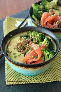 Smoked Salmon Soba Bowl -- with plenty of alkalizing veggies and a great sesame-ginger dressing.