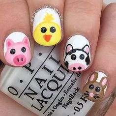 27 of the Best Nail Art Designs for Any Animal Lover - More Pig Nail Art, Pig Nails, Cute Nail Art, Easy Nail Art, Animal Nail Designs, Best Nail Art Designs, Nail Designs Spring, Simple Nail Designs, Kid Nail Designs