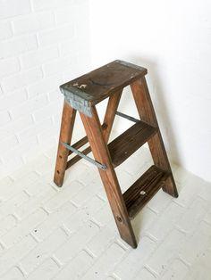 Vintage Wood Painters Step Stool Ladder Primitive Shabby Chic
