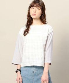 BEAUTY&YOUTH WOMENS(ビューティアンドユース ウィメンズ)のBY シアーチェックポンチ8分袖プルオーバー(Tシャツ/カットソー) ライトグレー