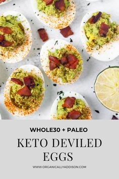 These Deviled Eggs are made with avocado and bacon! They are the perfect summer side dish. They have fresh and bold flavors. This homemade appetizer is Whole30 compliant, Paleo, Keto, Low Carb, Gluten Free, and Sugar Free! Deviled Eggs Recipe Without Mayonnaise, Paleo Deviled Eggs, Sugar Free Bacon, Recipe Steps, Whole 30 Recipes, Paleo Whole 30, Clean Eating Breakfast, Healthy Gluten Free Recipes, Healthy Appetizers