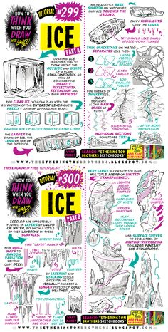 How to THINK when you draw ICE tutorial! by EtheringtonBrothers on DeviantArt Draw Tutorial, Comic Tutorial, Sketches Tutorial, Anatomy Tutorial, Drawing Lessons, Drawing Techniques, Drawing Tips, Drawing Reference, Ice Drawing