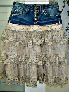 This Ruffled Lace jean skirt upcycled denim beige tulle rose metallic lace French lace vintage fairy goddess bohemian Renaissance Denim Couture is just one of the custom, handmade pieces you'll find in our skirts shops. Denim Vintage, Vintage Lace, Upcycled Vintage, Vintage Jewelry, French Lace, French Bohemian, Techniques Couture, Jeans Rock, Blue Jeans