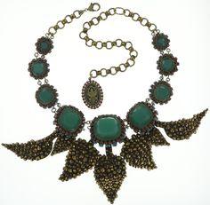 Halskette Queen of Elves grün / braun / blau