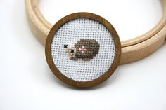 Hedgehog cross stitch brooch by otterlydesign on Etsy