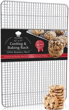 Villerve 100% Stainless Steel Cooling Rack, Oven Safe for Baking ,12 x 17 fits Half Sheet Pan, Strengthened Wire Grid Pattern - Dishwasher Safe and Rust Proof -- Wow! I love this. Check it out now! : Baking Accessories