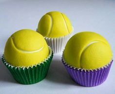 Tennis Ball cupcakes by Mandy's Sugar Craft Tennis Cupcakes, Tennis Cake, Themed Cupcakes, Sport Cakes, Food Themes, Cake Pops, Cupcake Cakes, Mini Cakes, Cake Decorating