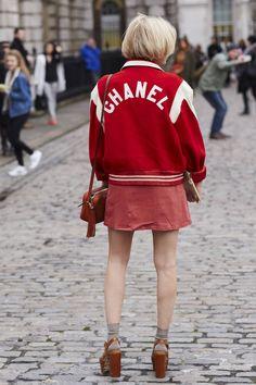 Pandora Sykes in vintage Chanel varsity jacket #LFW #StreetStyle #FashionWeek