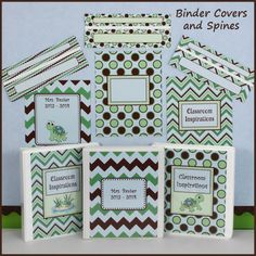 Turtle Time Binder Covers and Spines coordinates with the Turtle Time themed classroom collection. All of the designs are in green and blue with brown accents. They are editable!  Covers come in chevron, stripes and dots.  Plus, each design can be printed with or without the friendly little turtle. $