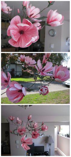 Paper Magnolia Mobile #paper_craft #decoration #flowers