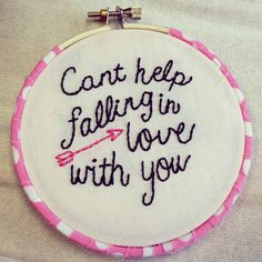 ($22.00) I can't help falling in love with this perfectly imperfect 4 inch embroidery hoop inspired by Elvis Presley.    Also available in RED.