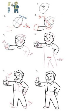 How to Draw Fallout Vault Boy with Easy Step by Step Drawing Tutorial - How to Draw Step by Step Drawing Tutorials Fallout Art, Fallout Theme, Fallout Tattoo, Fallout Posters, Fallout Props, Fallout Funny, Pip Boy, How To Draw Steps, Boy Drawing