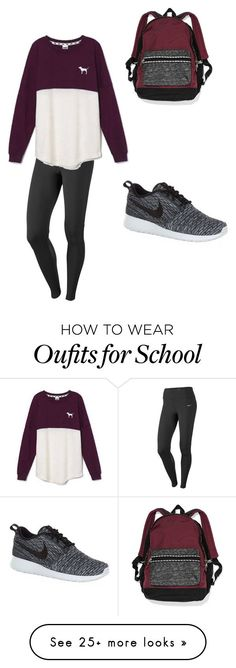 """school"" by meghyno on Polyvore featuring moda, Victoria's Secret y NIKE"