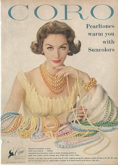 1958 CORO Pearltones Pastel Necklaces Suncolors FASHION JEWELRY Vintage Print Ad