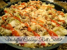 Unstuffed Cabbage Roll Skillet... A deconstructed cabbage roll dish that cooks in a skillet! It's got all the goodness of cabbage rolls without precooking the rice or parboiling the cabbage. SO GOOD!