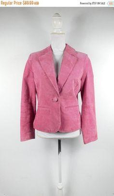 134075a952232 BLOWOUT SALE Vintage 80s Bernardo Hot Pink Suede Leather Minimal One Button  Down Long Sleeve Evening Blazer Jacket Coat Sz Small