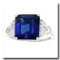 Lawrence Jeffrey Estate Jewelers - 6.35 Carat Sapphire & Diamond Ring Platinum c1950s American