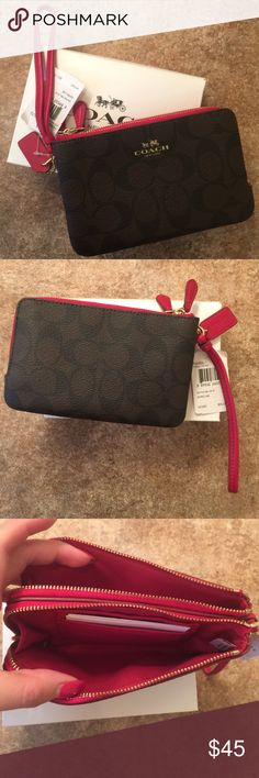 Coach Wristlet Brand New with Tags, come with box. Red with brown coach logo Coach Bags Clutches & Wristlets