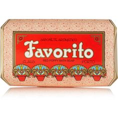 Claus Porto Favorito Soap - Red Poppy, 350g ($24) ❤ liked on Polyvore featuring beauty products, bath & body products, body cleansers and claus porto