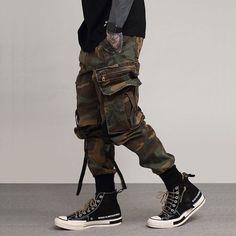 Multi pockets cargo pants.  For Spring, Autumn, Summer.  #streetwear #techfashion #techwear #techwearlooks #tacticalwear #fashionstreet #techninja #cyberpunk #shadowfashion #joggers #joggerpants #urbanstyle #darkwear #Harajuku #CamouflageJoggers #MilitaryJoggers #Military #Camouflage Men Trousers, Cargo Pants Men, Sweat Pants, Men's Pants, Harem Trousers, Mens Cargo, Camo Pants, Skinny Pants, Men Street