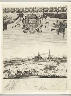 Nicolas Cochin | Ontzet van Arras, belegerd door de Spanjaarden (bovenste rij, plaat 2), 1654, Nicolas Cochin, Sébastien de Pontault de Beaulieu, Lodewijk XIV (koning van Frankrijk), 1655 | Ontzet van de stad Arras (Atrecht), belegerd door de Spanjaarden, 23-25 augustus 1654. Arras ontzet door het Franse leger onder de maarschalk Turenne van het beleg door de Spanjaarden onder Louis de Condé en aartshertog Leopold Willem. Tweede blad in de bovenste rij. Boven een wapen en putti, onder een…