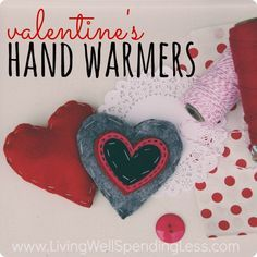 Looking for a cute alternative to traditional paper valentines?  These darling heart-shaped felt hand warmers are a snap to make & super practical too! Makes a fun & easy project to do with kids!