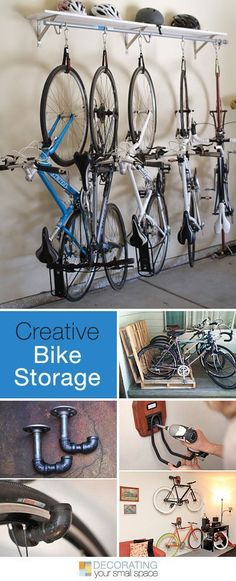 Whether you need to find space in a small apartment, or you have to fit your family bikes in an already crowded garage, we have creative DIY bike storage racks & projects as a solution. Garage Shed, Garage House, Garage Workshop, Bike Racks For Garage, Bike Storage Small Garage, Storing Bikes In Garage, Outdoor Bike Storage, Dream Garage, Outdoor Gear