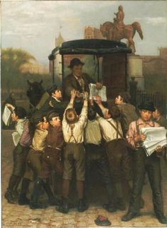 """""""The Last Edition"""", by English-born American artist - John George Brown (1831-1913), Oil on canvas."""
