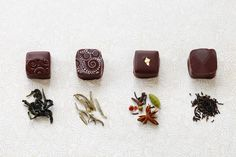 I love to to make tea infused chocolates. Above we have chocolates with green tea, jasmine tea, masala chai tea, and earl grey.