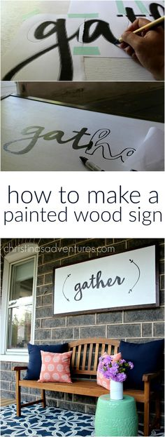 Great DIY tutorial for how to make a large painted wood sign - NO special tools required! Anyone could make this project! Diy Home Decor Projects, Easy Home Decor, Cheap Home Decor, Wood Projects, Craft Projects, Projects To Try, Decor Ideas, Craft Ideas, Project Ideas