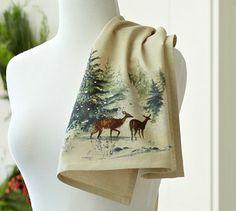 Deer in Snow Kitchen Towel #potterybarn $14
