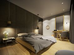 You have to check our Amazing Home design this one is the most popular Home design ever! Visit (Contemporary Home Design Ideas Arranged With A Gray and Wooden Decor Inside) here and you will know how to apply it. Modern Grey Bedroom, Grey Bedroom Design, Modern Room, Gray Bedroom, Home Design, Best Home Interior Design, City Apartment, Decoration Gris, Bedding Master Bedroom