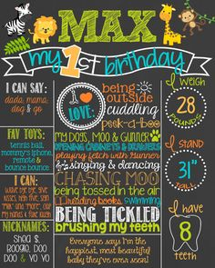 Safari Theme Birthday Chalkboard Poster // Customized Printable Birthday Board // Personalized Boy Chalk Board // Jungle // Monkey // Animal by PersonalizedChalk on Etsy https://www.etsy.com/listing/199128630/safari-theme-birthday-chalkboard-poster