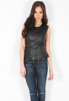 Mason By Michelle Mason Embossed Leather Front Peplum Top