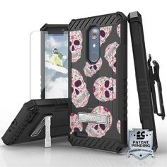 Tri Shield For ZTE Z Max Pro / ZTE Carry Z981 Sugar Skulls, Belt Clip Holster