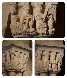 Capitel de la iglesia de San Juan de Duero - Degollación de San Bautista y banquete de Herodes
