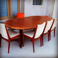 DScan Teak Dining Table With Rosewood Inlay by greencycledesignLA