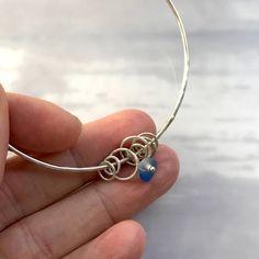 Sea glass bangle light blue seaglass bracelet antique