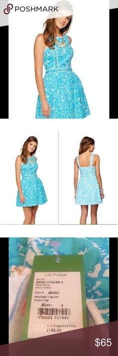 Shorely Blue She's A Fox The Becky Dress is perfect for any summer occasion.  Beautiful blue and white sundress.  NWT. Lilly Pulitzer Dresses
