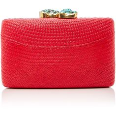 KAYU Jen clutch ($205) ❤ liked on Polyvore featuring bags, handbags, clutches, red, chain strap handbag, red clutches, chain handle handbags, straw handbags and straw purse